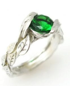 Lab Emerald Engagement Ring, Leaf Engagement Ring