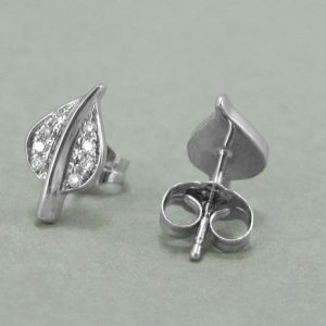 14k Gold Leaf Stud Earrings, Diamond Stud Earrings