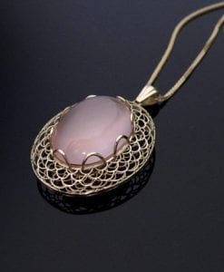 14k Gold Necklace, Oval statement pendant solid 14k gold unique mesh