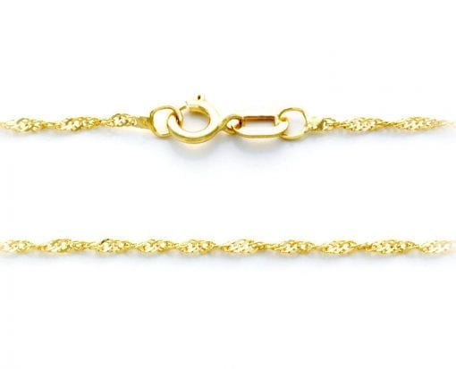 14k solid yellow gold 'Singapore' twisted chain - hallmarked, top quality