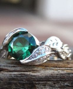 18k gold Leaf Ring, Emerald Leaf Engagement Ring