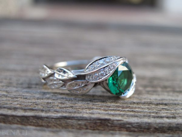 18k gold Leaf Ring, Emerald Leaf Engagement Ring
