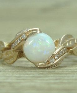 18K Opal Leaf Engagement Rose Gold Ring, Leaf Opal Ring