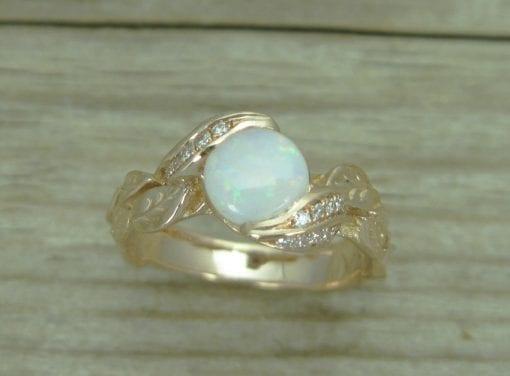 18K Opal Leaf Engagement Rose Gold Ring, Leaf Opal Ring