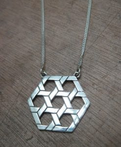 7 Stars Of David - Geometric Big Pendant - Chunky Bold Silver Magen David Pendant For Him Or Her - Dad - Boyfriend - Man Necklace - Jewish