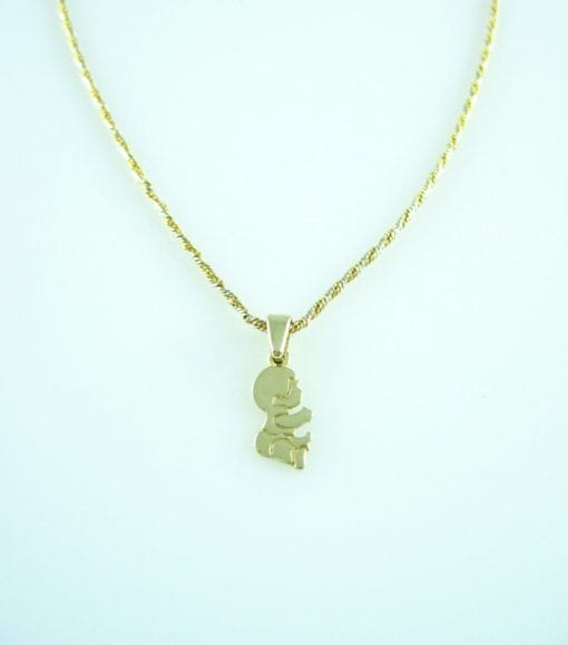 Adorable baby boy pendant - In solid 14k (585) yellow gold - mother, grandmother