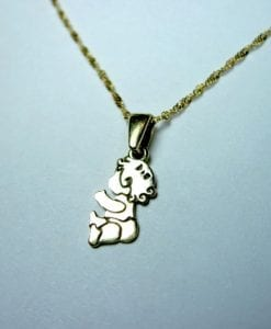 Adorable baby girl pendant - In solid 14k (585) yellow gold - mother, grandmother
