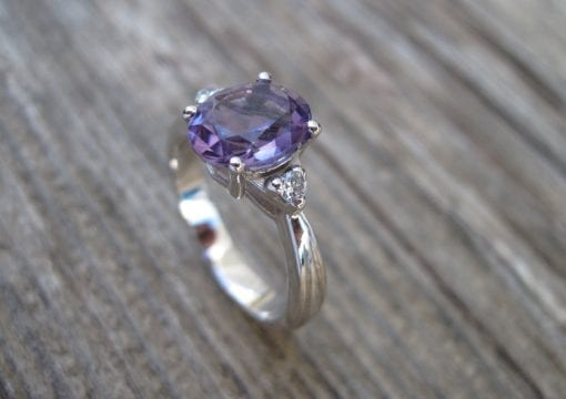 Amethyst Antique Engagement Ring, Antique 18k gold ring with Amethyst