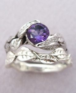 Amethyst Leaf Ring Wedding Set, Leaf Ring Amethyst Engagement Set
