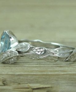 Aquamarine Engagement Ring, Aquamarine Leaf Engagement Ring