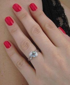 Aquamarine Engagement Ring, Aquamarine Leaf Engagement Ring