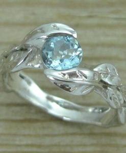Aquamarine Engagement Ring, Leaves Aquamarine Engagement Ring