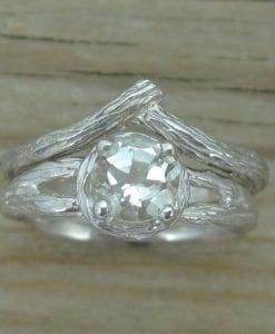 Bark Engagement Ring Set, Wood Engagement Ring Bridal Set