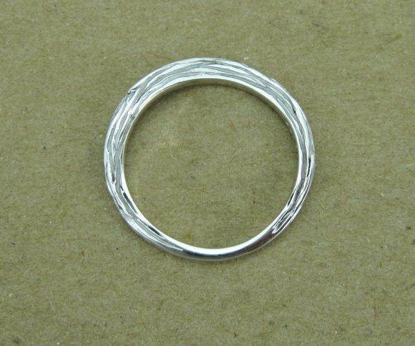 Bark wedding ring, White gold twig wedding band