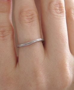 Bark wedding ring, White gold twig wedding band