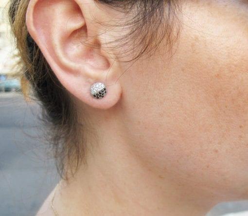 Black and white stone stud earrings - diamond stud earrings - elegant modern studs - Christmas gift - best friend gift - brides made gift
