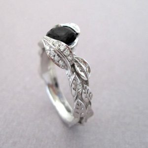 Black Diamond Leaf Engagement Ring, Diamond Leaf Engagement Ring