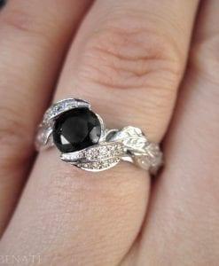 Black Diamond Leaf Engagement Ring, Diamond Leaf Engagement Ring
