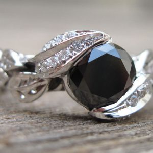 Black Gem Leaf Engagement Ring, Onyx Leaves Engagement Ring