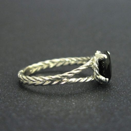 Black oval onyx twisted rope engagement ring, White gold rope ring and black gemstone