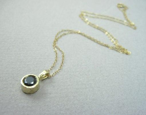 Black stone Pendant, Gold 14k Delicate Link Birthstone Necklace