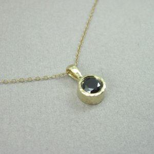 Black stone Pendant, Gold 14k Delicate Link Birthstone Necklace