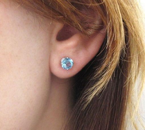 Blue Topaz Stud Earrings, Blue Topaz Earrings