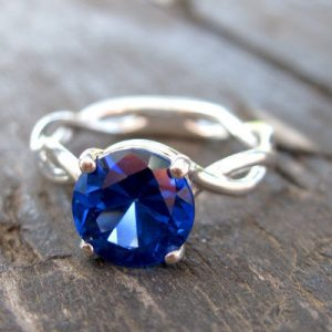 Bold 2 Carat Blue Sapphire Infinity Engagement Ring - Blue Gemstone, 14k White Gold Braided Rope Engagement Ring