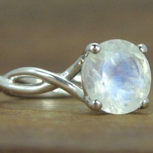 Bold 2 Carat Moonstone Rope Engagement Ring, Moonstone Gemstone