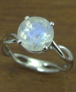 Bold 2 Carat Moonstone Rope Engagement Ring, Moonstone Gemstone