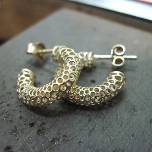 Bubble Gold Hoop Earrings - Contemporary Gold Designer Earrings - Solid 14k Yellow Gold Earrings - Wedding Earrings - Bride - Best Friend