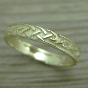 Celtic Wedding Band With Leafs, Wedding Ring