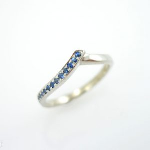 Chevron Ring, V Shaped Sapphire Infinity Ring