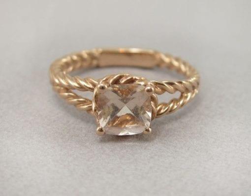 Cushion Morganite 18k Rose Gold Engagement Ring, Morganite Engagement Ring