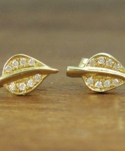 Dainty Gold Stud Leaves Earrings, Diamond stud Leaves earrings