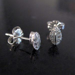 Dainty silver studs earrings with cubic zircon, Silver earrings with zircons