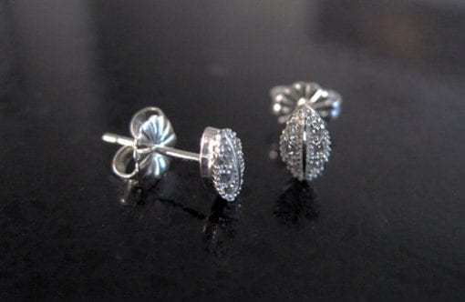 Dainty silver studs earrings with cubic zircon, Silver earrings with zircons
