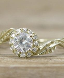 Diamond Halo Leaves Engagement Ring, Gold Halo Engagement Ring