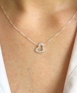 Diamond heart necklace - Diamond heart pendant in 14k white gold - Designer heart pendant - Love neckalce, Heart jewelry