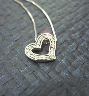 Diamond heart necklace - Diamond heart pendant in 14k white gold - Designer heart pendant - Love neckalce, Heart jewelry