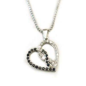 Diamond Infinity heart pendant - Together forever diamond heart necklace - Black & white interlocking heart - new designer heart pendant