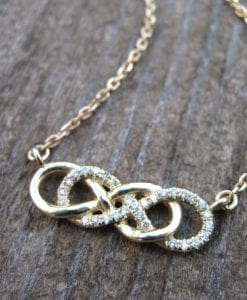 Diamond infinity knot necklace, double infinity knot diamond necklace