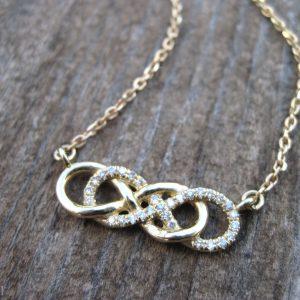 Diamond infinity knot necklace, double infinity knot diamond necklace