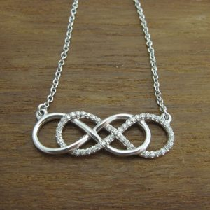 Diamond infinity necklace, White gold double infinity knot diamond necklace