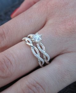 Diamond infinity ring bridal set, Infinity knot engagement and wedding ring set