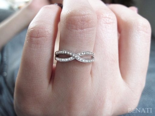 Diamond Infinity Ring - Solid 14k White Gold Ring With Diamonds - Gold infinity diamond ring - New designer