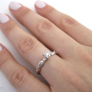 Diamond Knot Engagement Ring, Diamond Infinity Ring