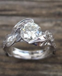 Diamond Leaf Engagement Ring, Leaves Diamond Engagement Ring