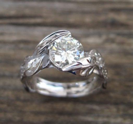 Diamond Leaf Engagement Ring, Leaves Diamond Engagement Ring