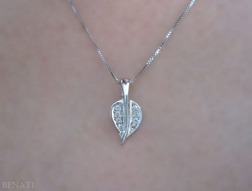 Diamond Leaf Pendant, Gold Leaf Necklace With Diamonds
